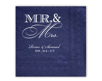100 Personalized Napkins Beverage LUXE QUALITY Luncheon Guest Towel & Dinner Size Available Mr and Mrs Napkins Custom Printed Monogram