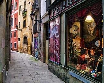 Barcelona Print, Graffiti, Mask Shop, Travel Photography, Urban Decor, Red, Yellow, Gold, Green, Purple, Spain, Romantic, Barcelona Photo