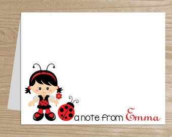 Personalized Kids' Note Cards - Set of 10 Ladybug Notecards for Girls - Folded Note Cards with Envelopes - Custom Ladybug Notecards