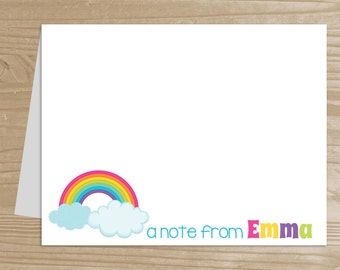 Personalized Kids' Note Cards - Set of 10 Rainbow Notecards for Girls - Folded Note Cards with Envelopes - Custom Rainbow Notecards
