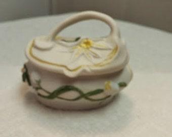 White Starburst Floral Porcelain Box
