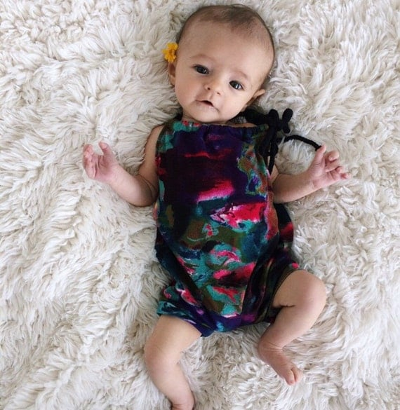 Sunsuit / Romper / One Piece / Black Multi Color Jumpsuit / Bodysuit / Jumper / / Baby Girl Outfit / Summer /  / Baby Girl Clothes
