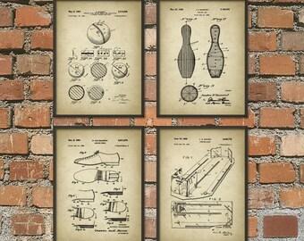 Ten Pin Bowling Patent Print Set Of 4 - 10-Pin - Bowling Alley Patent Poster - Bowling Print - Bowling Poster