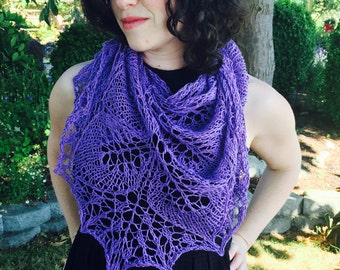 lilac dreams shawl, cotton, linen, handknit