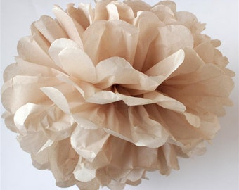 TAN tissue paper pom pom - Large/medium/small size - handmade - lots of colours to choose from