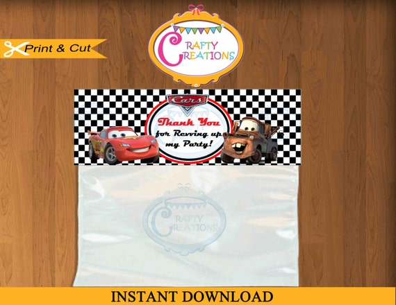 Disney Car Tag Favor Tags Cars Movie Sticker Party Tags