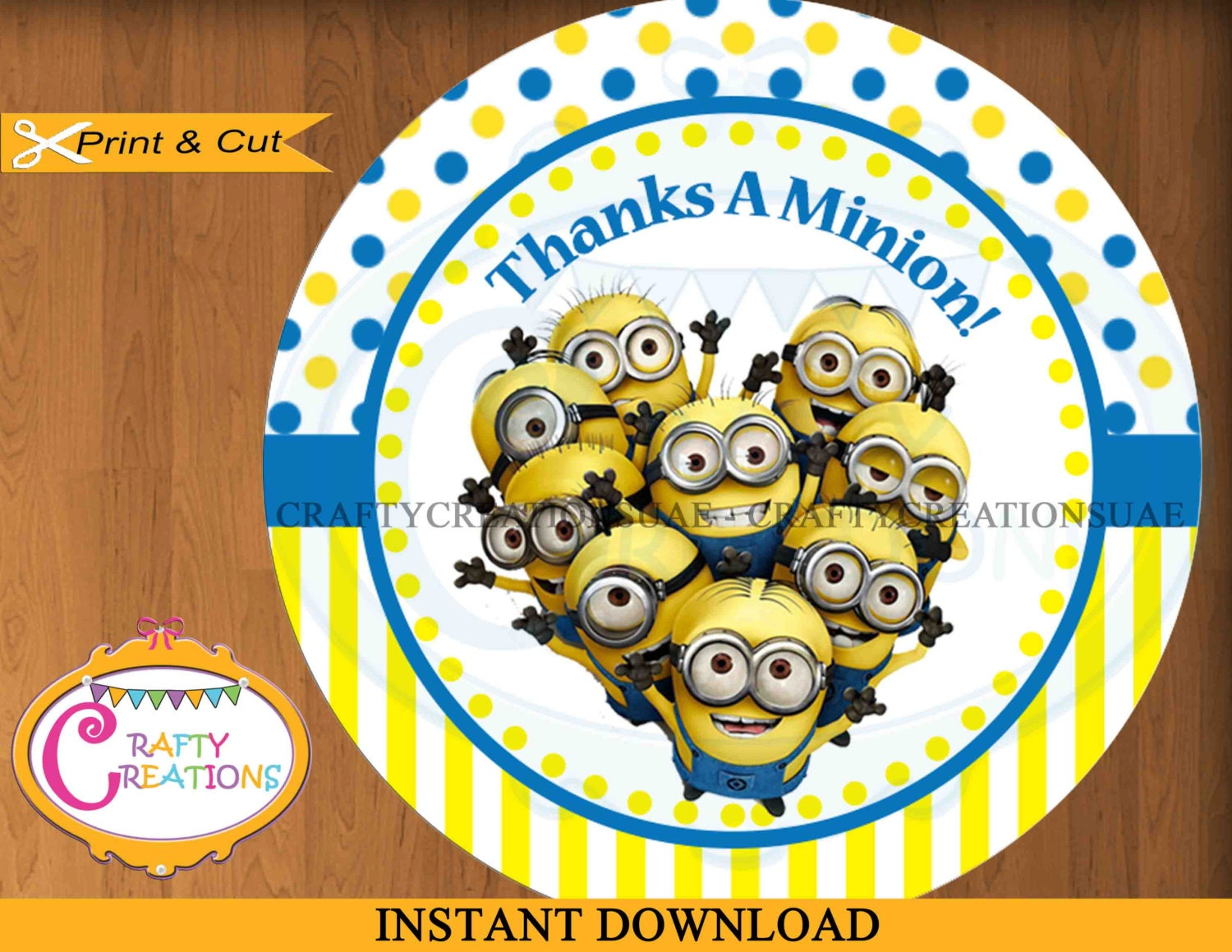 Minions Favor Tag   Despicable Me   Thanks A Minion   Labels   Party Favors    Birthday   Printable   INSTANT DOWNLOAD   CraftyCreationsUAE