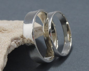 Set Of Plain thick Sterling Silver Wedding Bands. 5ml Thick & 3ml thick .925 Sterling Silver Wedding Bands
