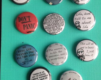 hitchhikers guide to the galaxy set of 1 inch badges pinback buttons - 11 - Don't Panic - Don't forget your towel - Marvin - 42