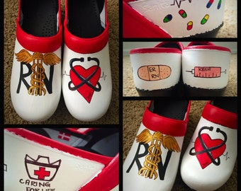 Custom painted Nursing/RN Sanita Clogs. Designed and personalized just for you!