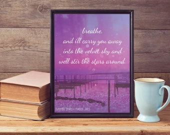 Purple Beach with Quote Print - Landscape Photography