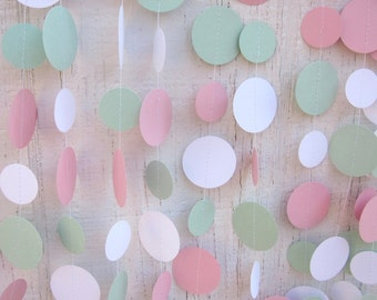 Pink and Mint Paper Circles Garland,  Wedding Garland, Baby Shower Garland, Photo Prop, Bridal Shower, Shabby Chic