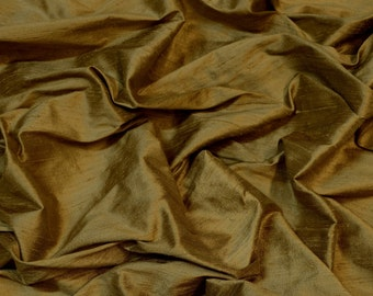 "Walnut Gold Dupioni Silk, 100% Silk Fabric, 54"" Wide, By The Yard (S-259)"
