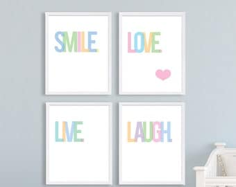 Nursery Art Baby Girls Room Love Art Print Laugh Smile Live Positive Quotes New Born Gift Baby Shower Nursery Print Pastel Typography Print
