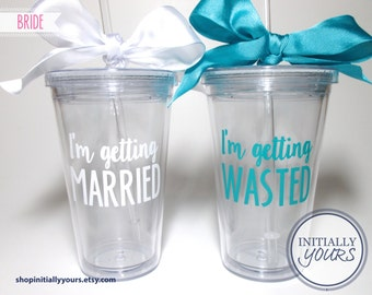 Bachelorette Party Cups, I'm Getting Married, I'm Getting Wasted, I'm Getting Drunk Party Favors, Bachelorette Weekend, Bride Bachelorette