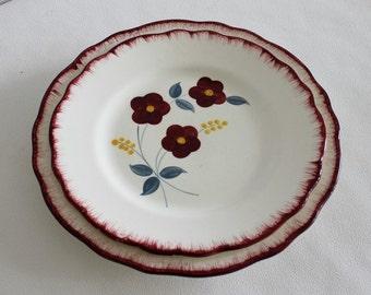 Ceramic plates. Dinnerware Set. 2 Pcs. Dinner and Dessert Plates. Salins. France. Musette. Vintage kitchen // C265
