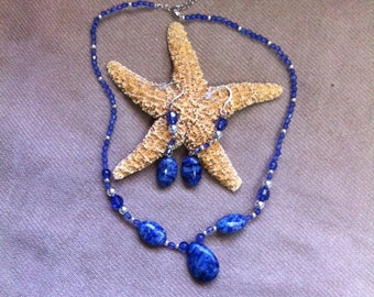Lapis Necklace and Matching Earrings