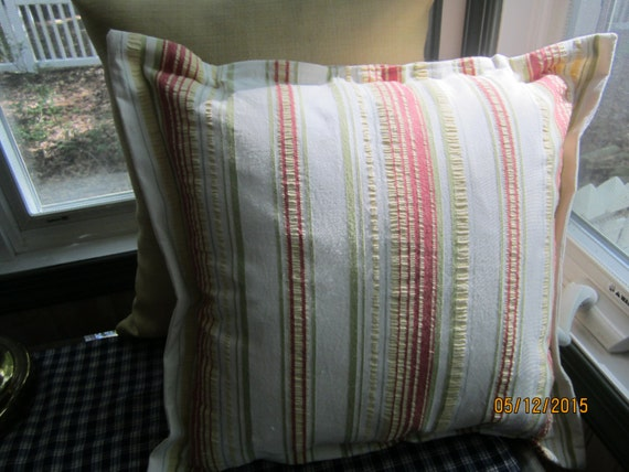 Summer white and citrus colored throw pillow with flange