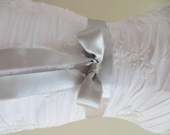 Bridal sash, bridal gown sash, wedding dress waist sash, silver ribbon belt, vintage rustic wedding belt, bridal satin sash, satin ribbon