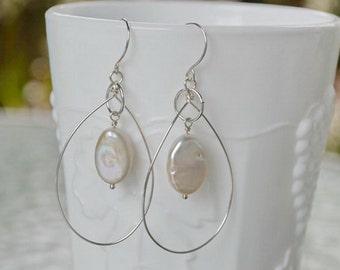 June Birthstone Pearl Earrings/Sterling Silver/White Freshwater Pearl Beach Hoop Dangle Statement Earrings