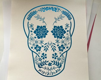 Unfinished Skull Blue Foil on Pearl paper A4