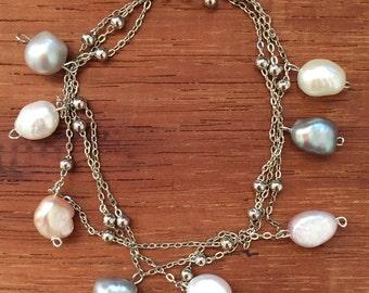 Fresh Water Pearls Silver Bracelet Chain