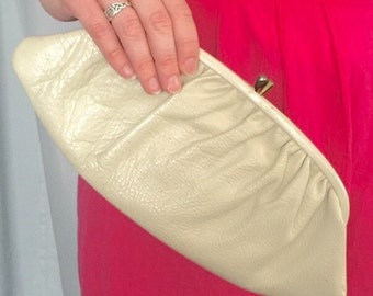 Leather Clutch White Cream Ivory Vintage Handbag Purse Neutral Bag Wedding