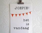 Hurray it is today | Postcard| Dutch | Bunting | Joepie