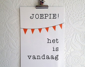 Hurray it is today | Postcard| Dutch | Bunting | Joepie