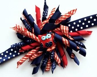July 4 Headband - Patriotic Korker Hair Bow - Patriotic Owl Hair Bow - Patriotic Head Band Photo Prop - Red White and Blue Headband