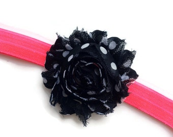 Black Polka Dot Shabby Flower Headband - Neon Pink Elastic Headband - Polka Dot Flower Head Band for Girls - Toddler Headband for Summer