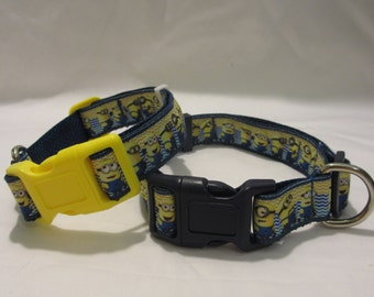 Minions Dog Collar Now Navy and Yellow Buckles!