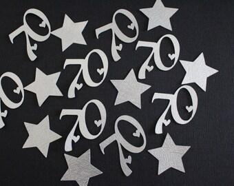 70th Confetti - Silver - Number/Anniversary Confetti - 70th Party Confetti #2031