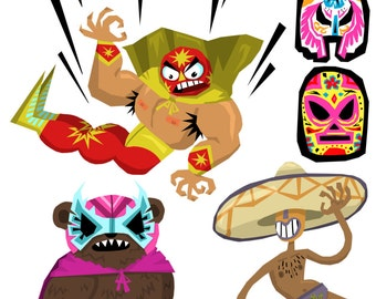 Lucha Libre Luchadors Wrestling Sticker Pack