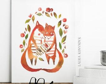 Fox Family Nursery Art -  Print of Watercolour Illustration