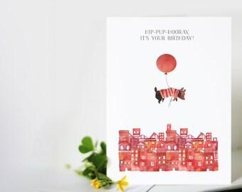 Puppy Birthday Card: Hip-Pup-Hooray! It's Your Birthday!
