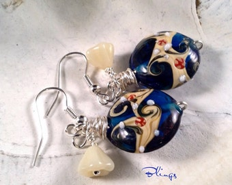 Handmade Glass Lampwork Cobalt Blue Earrings, Beach, Ocean Waves, Sand, Wire Wrapped, Czech Glass Flowers Wire Wrapped, Silver Plated