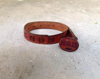 SALE - Tooled Leather Belt - Mignon -XXS
