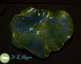 OOAK Midnight Rain/Copper Free Form Hand Built Bowl, Stoneware, Army Veteran, Veteran Owned, Female Veteran, Disabled Woman Veteran