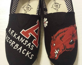 Arkansas Razorback Hand Painted Canvas shoes (available in Toms)