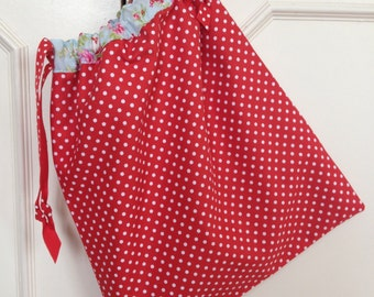 Red Spotty and Floral Drawstring Bag
