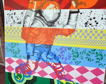 Major Tom - Astronaut - Space Dunk - 36 x 36 - Graffiti - Street Art - Spray Paint