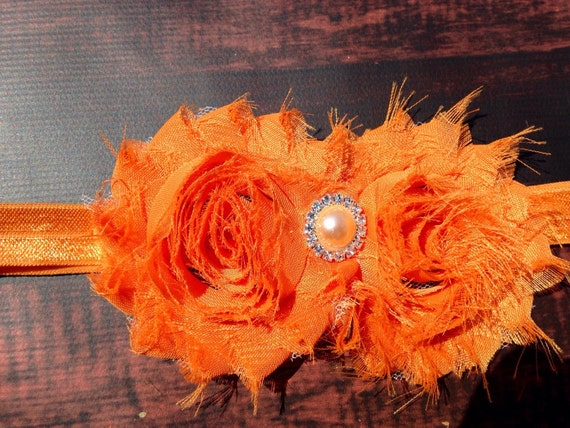 Orange Frayed Flower headband, 4 sizes baby to adult, Girls headband, Chiffon Flower Headband, Teen headband, Baby Headband