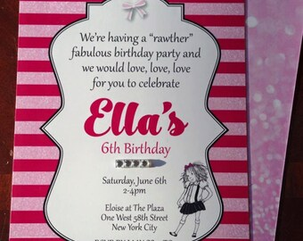 Eloise Birthday invitations with Rhinestones