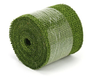 """Olive Green 4"""" by 10 yards burlap ribbon, great for rustic decorations, DIY, country look. Available in other colors. (BRH04-09)"""