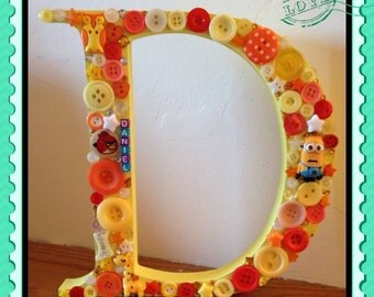 Wooden freestanding letters, 15cm tall decorated with buttons, gems, caboochons etc