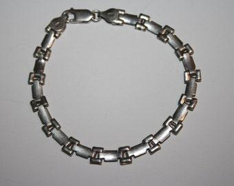 8 in Vintage Sterling Link Bracelet Free US Shipping