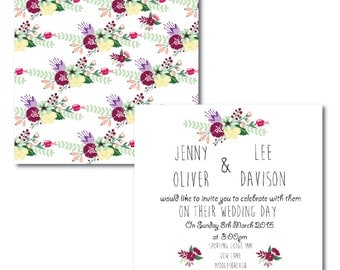 Spring  Burgandy Bouquet Invitations