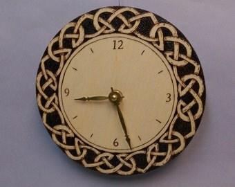 Celtic rope clock, hand wood burned