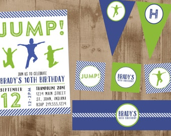 Trampoline Jump Bounce House PRINTABLE Party Set- Invitation - banner - tags - toppers - bottle wraps